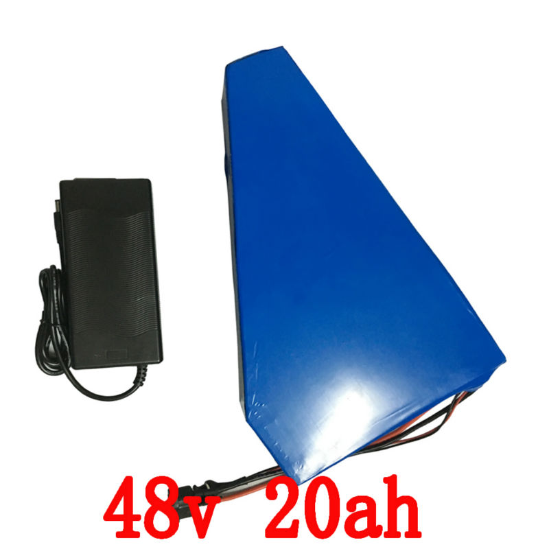 Triangle shape Lithium battery 48V 20Ah with Battery bag / 1000W Electric bike Battery 48V 20Ah with 18650 cell 30A BMS +Charger 1200w 48v scooter battery electric bike battery 48v 20ah lithium ion battery pack with pvc case 30a bms 54 6v 2a charger