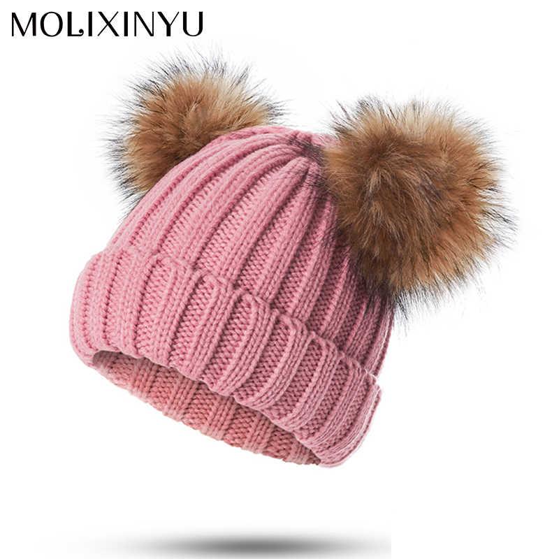 9553a7bb955 MOLIXINYU Baby Pom Poms Hat Children Knitted Boys Girls Toddler Crochet Beanie  Baby Hat Cute Kids
