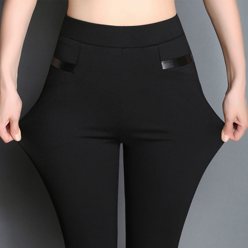 2019 Plus Size Pocket Women High Waist Black Pants Women High Elastic Skinny Pants Stretchy Women Trousers XXL