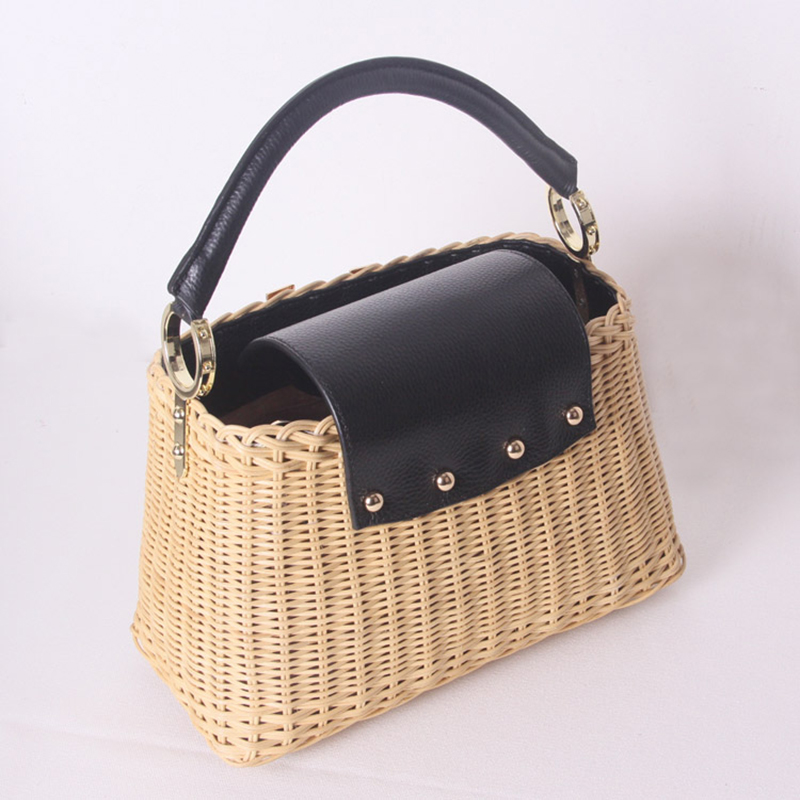 Image 2 - Womens rattan handbag luxury Messenger bag genuine leather handmade rattan weaving 2019 summer beach bags for women sac mainTop-Handle Bags   -