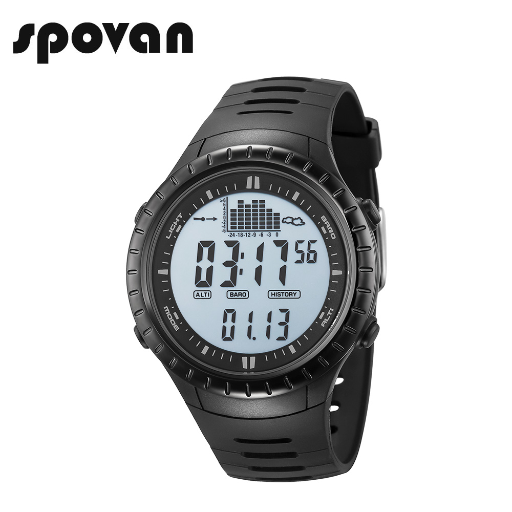 SPOVAN SPV710a Sport Watch, Digital Mens Sports Watches Outdoor 164FT Waterproof with LED Backlight/Fishing Remind/Alarm