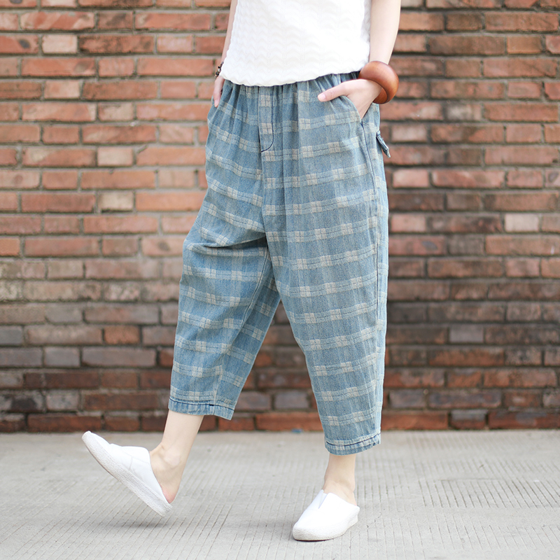 New Vintage Plaid Jeans Women Bleached Loose Casual Jeans Trousers-in Jeans from Women's Clothing    3