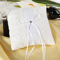 Satin Weddings Ring Pillow 8 8inch High Quality Lace Heart And Bows For Wedding Party Favors