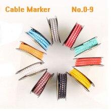 Marcador de cable de color amarillo, marcador de cableado de material de PVC de 0 a 9 Uds. Con número variado EC 0 EC 1 de EC 2, marcador de Cable de EC 3