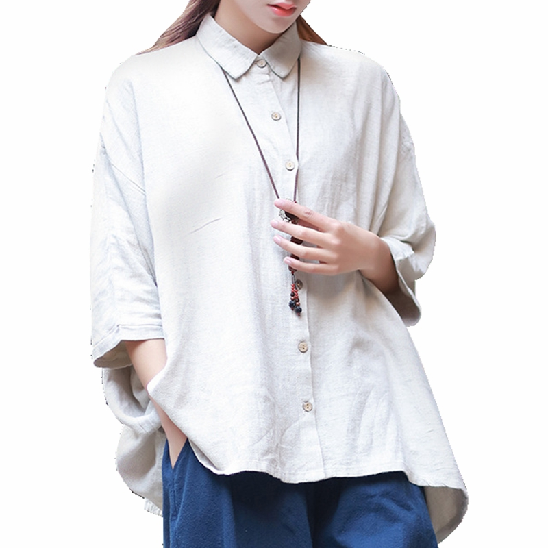 Mori style linen blouse femme 3 4 sleeve button up collar for 3 4 sleeve t shirts plus size