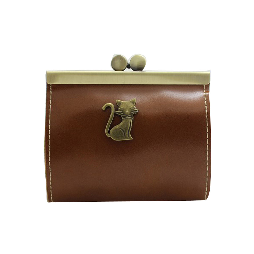 Womens Retro Clutch Hasp Short Key Change Wallet Love Cat Purse Coin Bag Mini Handbag  Ladies Clutch Change Purses