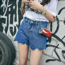 free shipping 2017 hot-selling  high waist irregular scalloped denim shorts His trousers wavy women's short  jeans casual