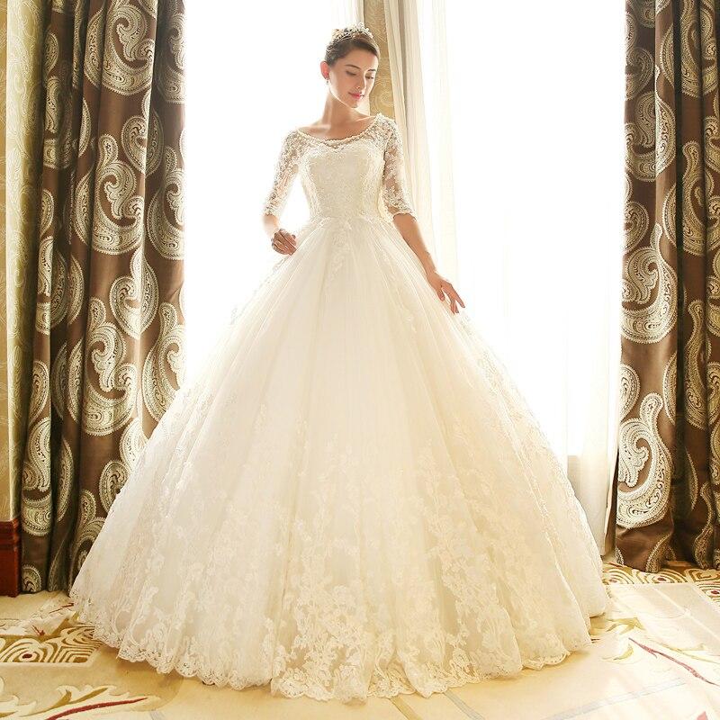 Half Sleeves Vestido De Noiva 2019 Muslim Wedding Dresses Ball Gown Tulle AppliquesLace Boho Dubai Arabic Wedding Gown Bridal