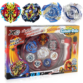 New Beyblade Set Spinning Top 4 Beyblades+2 Launchers+1 Handle+1 Plastic Stage Metal Funsion 4D With Original Box Toys Gift #E beyblade set
