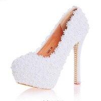 3 6 8 10 12 14cm Women Fashion Pumps Handmade Lace Platform High Heels Pearls Wedding