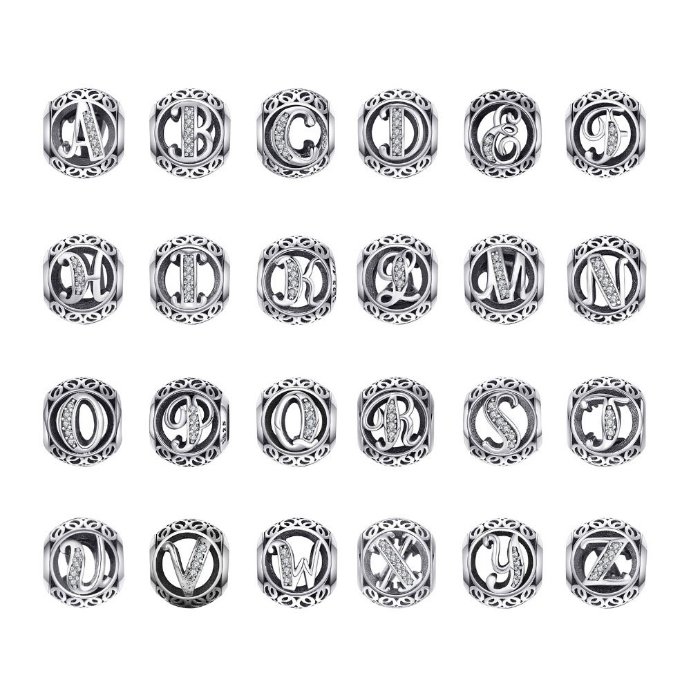 JewelryPalace Initial 925 Sterling Silver Beads Vintage Alphabet Letter Fit Pandora Charms Silver 925 Original Bracelet(China)