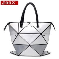 JOOZ Geometric Fold Over Bag Diamond Lattice Women HandBags Variety Modeling Female Shoulder Bag Pvc Laser