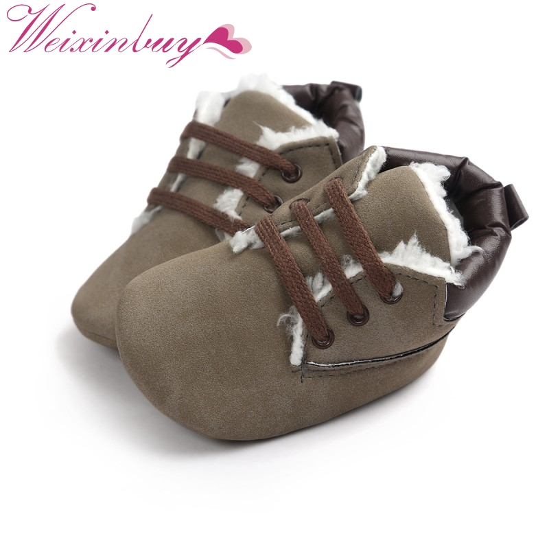 Newborn Baby Soft Bottom Lace Up Classic Tie Up Boots Infant Baby Shoes Toddler Boy Winter Thick Warm Boots Zapatos Bebes 0-18 M
