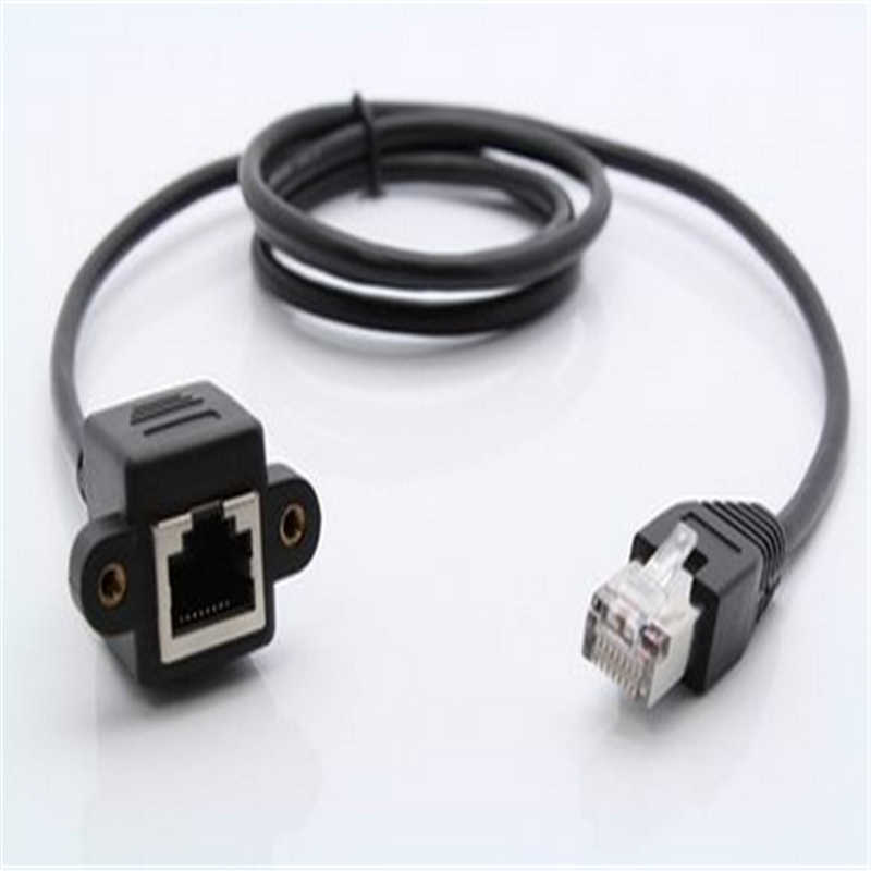 Image 2 - 1pcs 30cm 8Pin RJ45 Cable Male to Female Screw Panel Mount Ethernet LAN Network 8 Pin Extension Cable-in Computer Cables & Connectors from Computer & Office