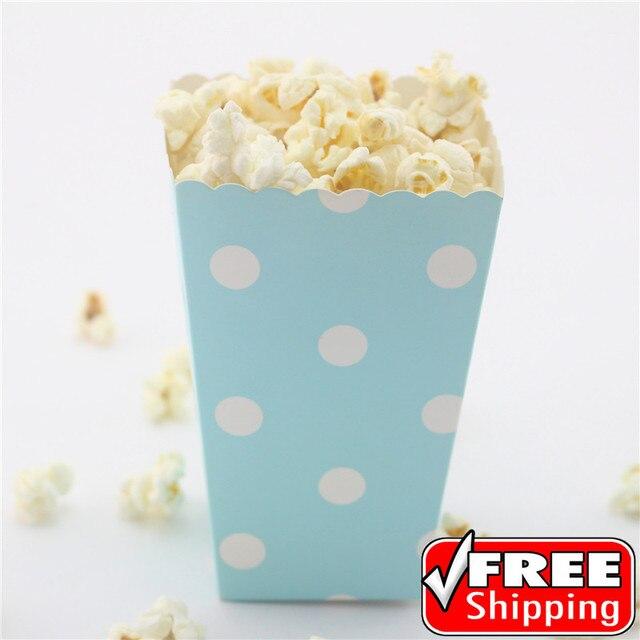 36pcs Light Blue Popcorn Boxes Polka Dot Baby Shower Birthday Party