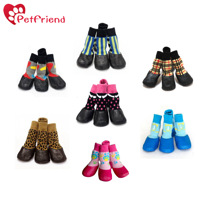 Pet Dog Puppy Waterproof Nonslip Sports Socks Shoes Boots, Rubber Sole, Comfortable Design for Small/Medium/Large Pet Dog