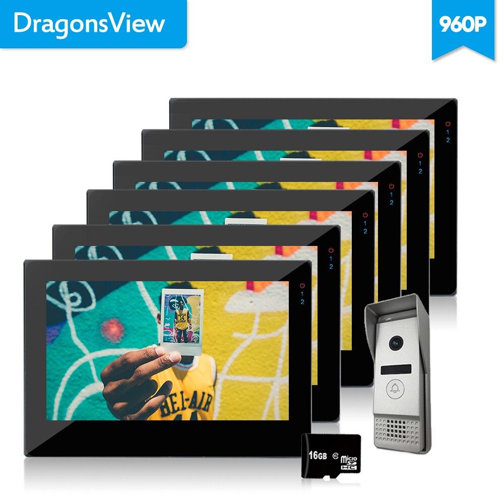 Dragonsview 7 Inch Touch Screen Video Door Phone Doorbell Intercom Kit For Apartment 6 Monitors 1 Doorbell 960P Rainproof Panel