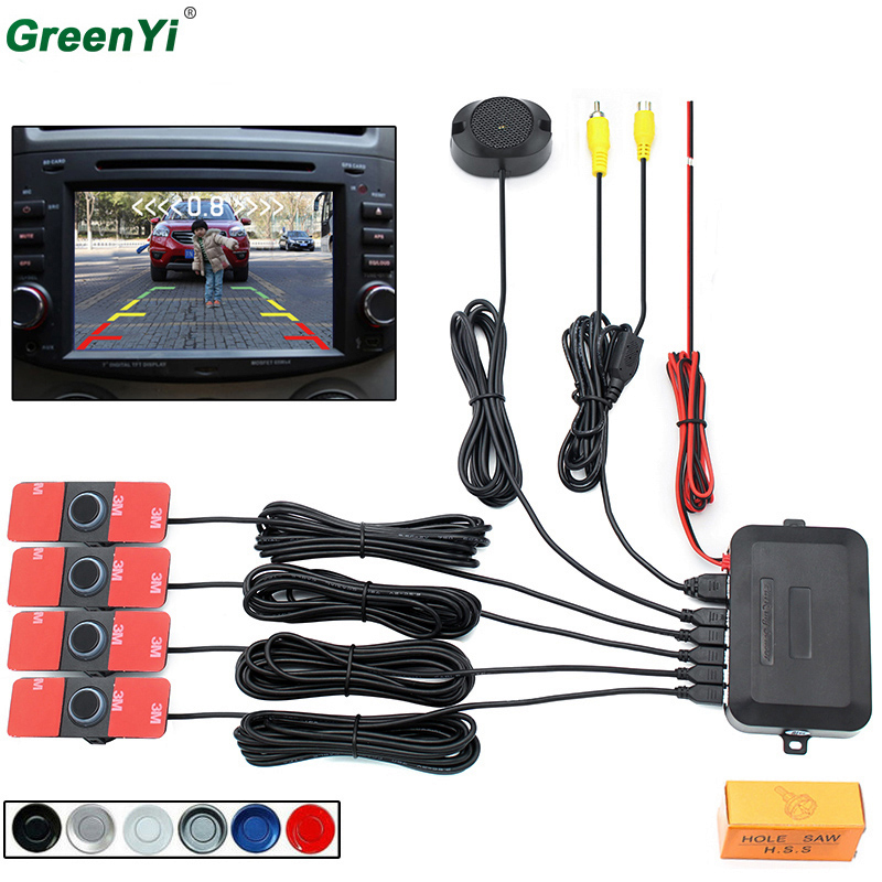 Car Video Parking Sensor Reverse Backup Radar Detector System 13mm Original Flat Sensors Can Connect Car DVD Monitor Rear Camera