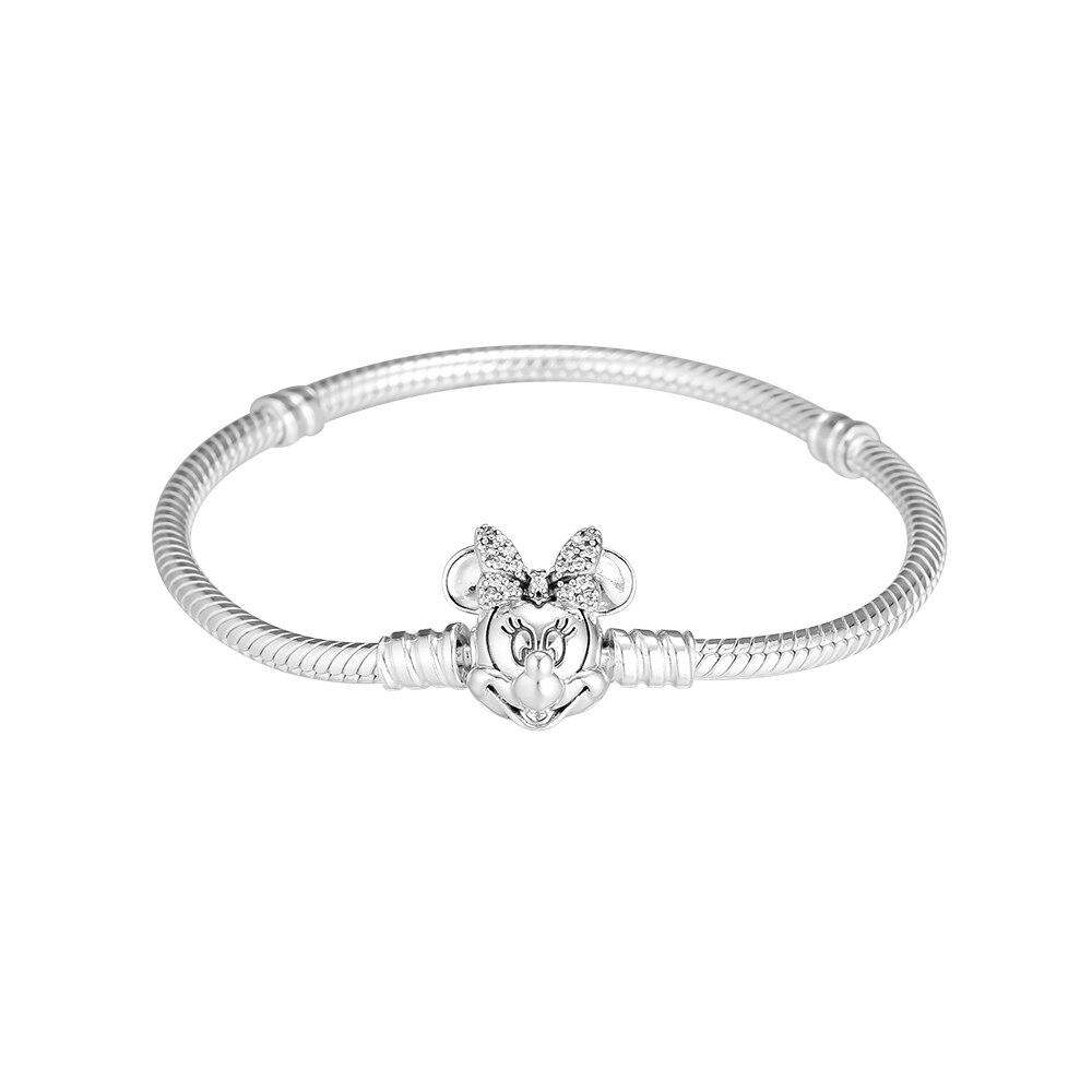 2019 nouveau 925 bijoux en argent Sterling chatoyant souris Portrait Bracelet pour les femmes charme Original perles et charmes appropriés
