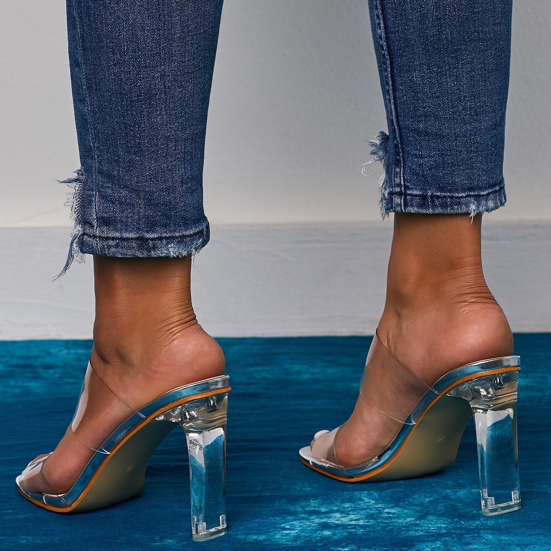 HTB1F2ayU4TpK1RjSZR0q6zEwXXaD 2019 Snakelike Sandals Crystal Open Toed High Heels Women Transparent Heel Sandals Slippers Pumps 11CM Big Size 41 42