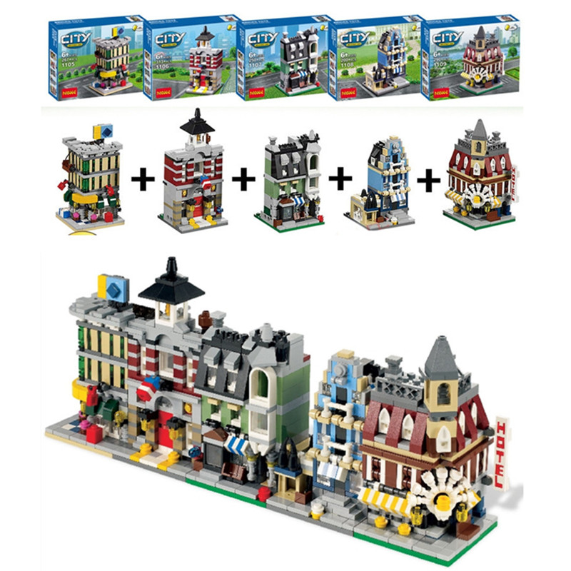 5 in 1 City Mini Street View Model Building Blocks Assembly Creators Cafe Corner Town Mall Combination Bricks Toys for Children lepin city town city square building blocks sets bricks kids model kids toys for children marvel compatible legoe