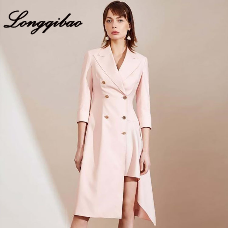 High quality 2019 fashion women's foreign style irregular suit dress fragrance wind waist Hong Kong style cool wind dress - 2