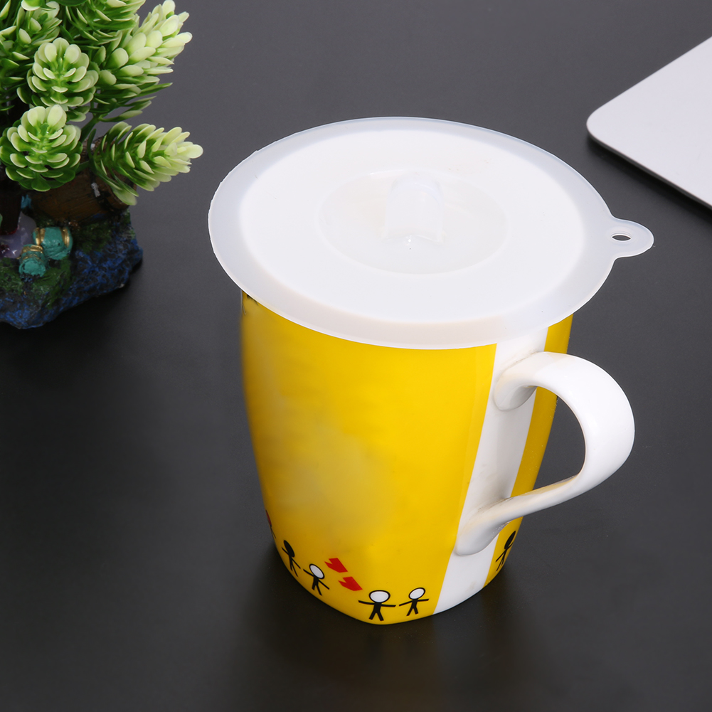 Silicone Cup Cover Odorless Cap Lid Leak Proof Fresh-Keeping Sealed Suction Seal Lid Teacup Coffee Cup Cap Lids White