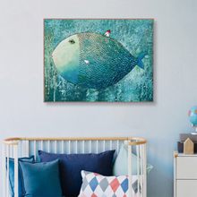 Modern Watercolor Big Fish Little House Wall Art Canvas Painting Poster Abstract Picture Bedroom Living Room Home Decor
