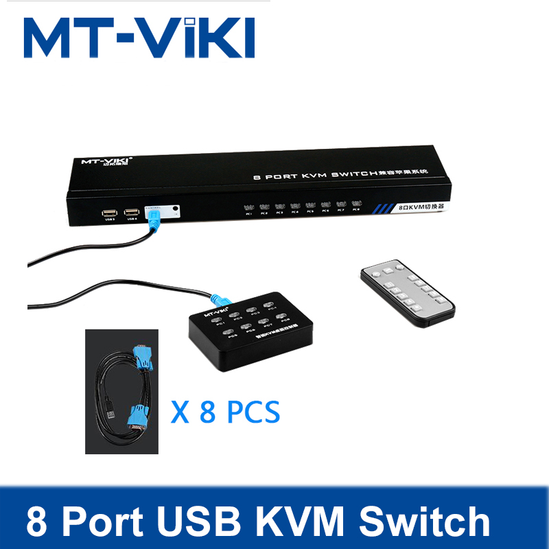 MT-Viki 8 Port Smart KVM SWITCH Manual Press Button VGA USB Wired Remote Extension Switcher 1U with Original Cable 801UK-C