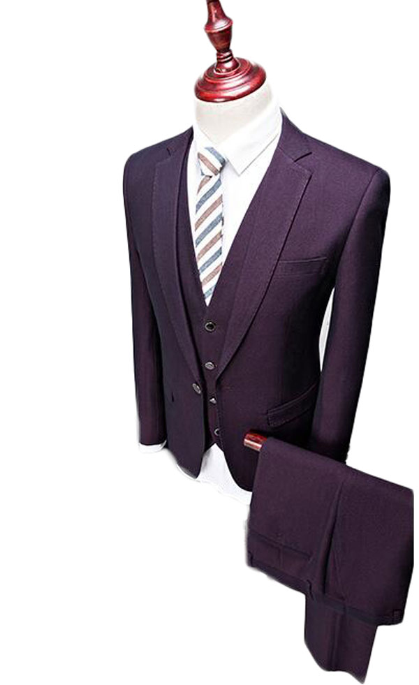 New Fashion Purple Groom Tuxedo One Button Men's Suits (Jacket+Vest+Pants+tie) Blazer Jacket Wedding Party Formal Occasion