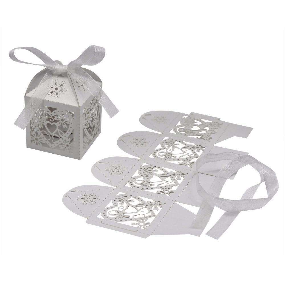 100pcslot Laser Cut Candy Box Love Heart Wedding Favor Box Party