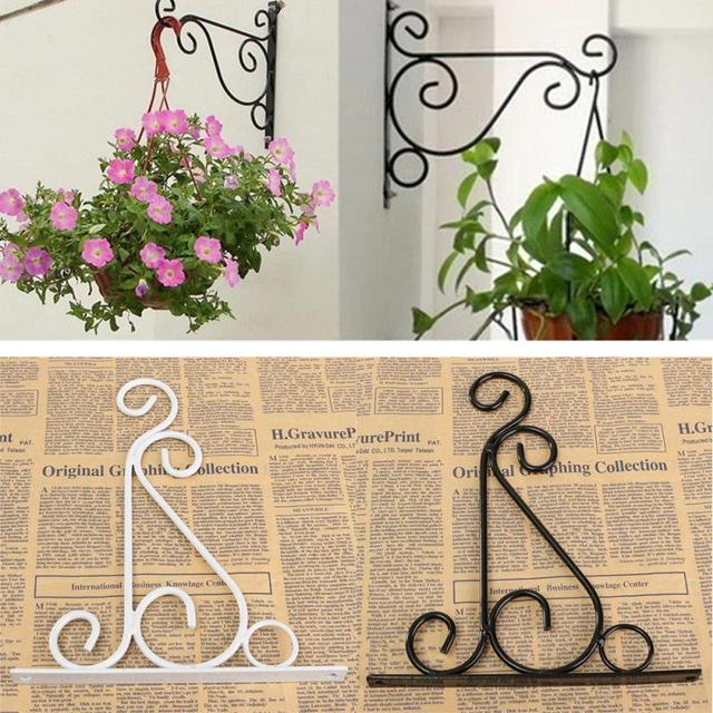 2 Colors Wrought Iron Art Hooks Hanging Plant Stand Flower Pot Holder Clic Landscaping