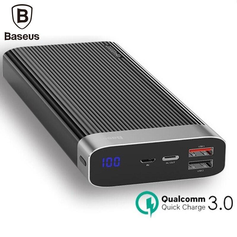 Baseus 20000 mAh Charge rapide 3.0 batterie externe 20000 mAh Usb chargeur borne chargeuse portable pour Iphone chargeur pour Xiao mi mi 9
