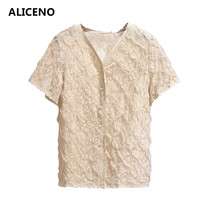 ALICENO 2019 Summer 6XL 2XL 60 150kg Wear Women V Neck Sexy Lace Mesh Blouse Short Sleeve Casual Shirts Big Size Clothes