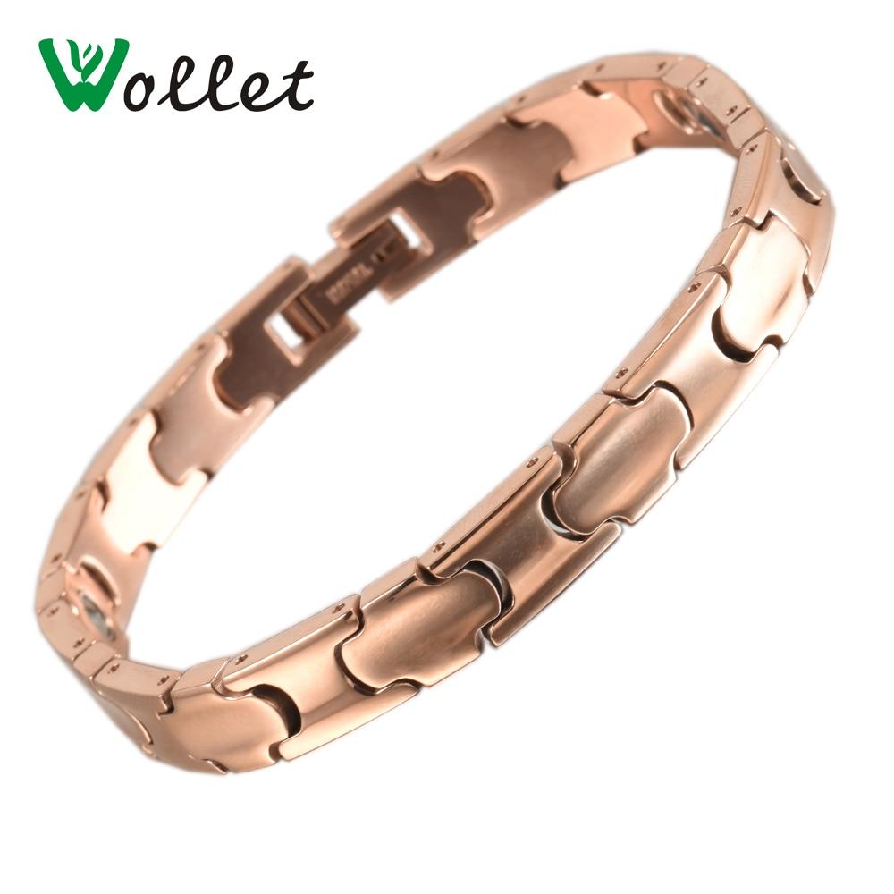 Wollet Jewelry Titanium Bracelets for Men Women Rose Gold Metallic Color 99.999% Pure Germanium Health Healing Energy