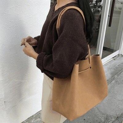 Bolsos Vintage de cuero nobuk para mujer bolsos de moda vintage bolso de mensajero para mujer casual grande bolsa de Asa superior bolsos 3