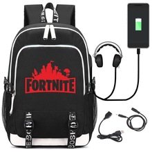 Fortnite Backpack Schoolbag with USB Charging Port and Headphone Jack
