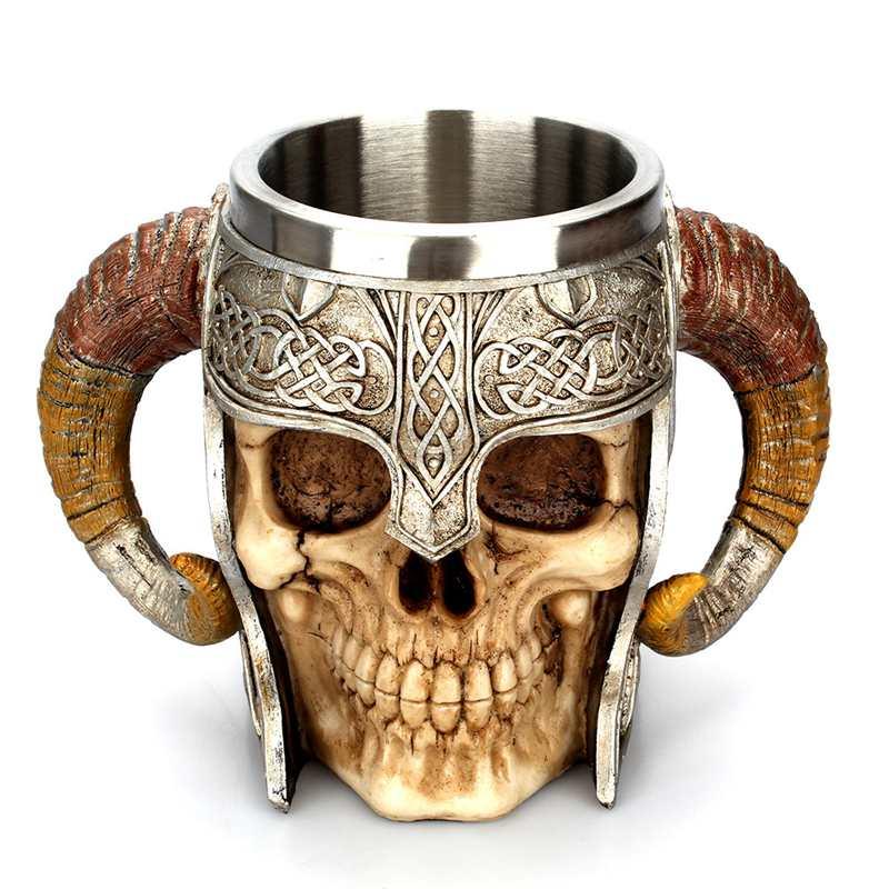 Edelstahl Schädel Becher Viking Ram Horned Pit Herr Krieger Bier Ziege Horn Harz Krug Kaffee Becher Tee Tasse Halloween bar Geschenk