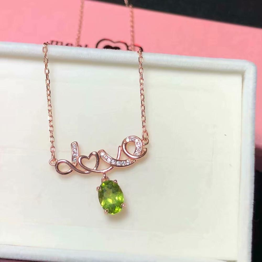 love letter shape  green  gemstone collarbone necklace for women with silverlove letter shape  green  gemstone collarbone necklace for women with silver