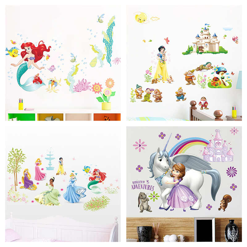 Snow White Sofia Mermaid Rapunzel Cinderalle Belle Ariel Princess Wall Stickers For Home Decor Kids Room Decal Cartoon Mural Art