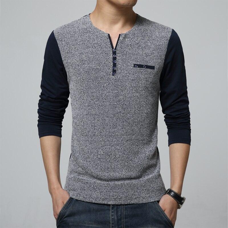 Popular T Shirt Long Sleeves Buttons Men-Buy Cheap T Shirt Long ...