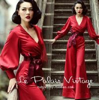 Le Palais Vintage Fashion Limited Edition Women Jumpsuit Loose Red Solid Playsuit Party Romper Lantern Sleeve Long Jumpsuit