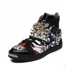 High canvas shoes trend shoes cotton-made attached the skates rivet shoe men's metal shoes casual trainers chaussure