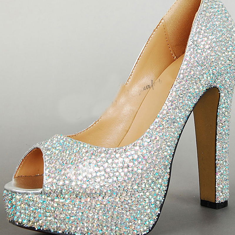Chunky Heel Wedding Shoes P Toe Prom Party Platforms Rhinestone Ab Crystal Sparkling High Bridal Glitter Pumps In Women S From On