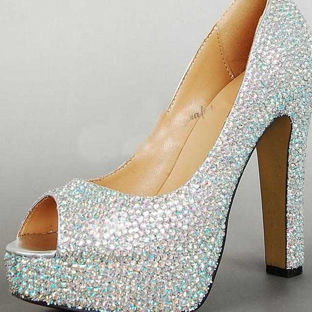 Chunky Heel Wedding Shoes Peep Toe Prom Party Platforms Rhinestone ...
