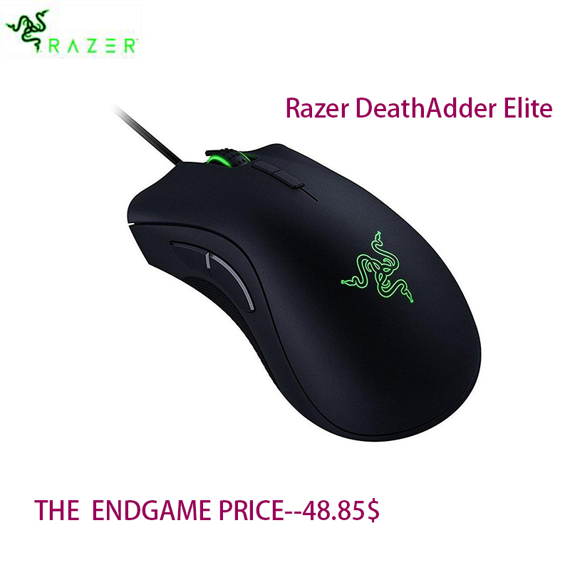 Razer DeathAdder Elite Wired Gaming Mouse 16000 DPI Embalagem CHS Chroma Iluminação Otimizado 450 IPS eSports Mouse Ergonômico