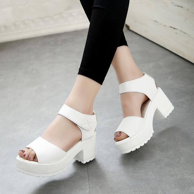 Platform Sandals Women Shoes High Heels Sandals  Women Summer Gauze Open Toe Shoes White Black Sandale Femme