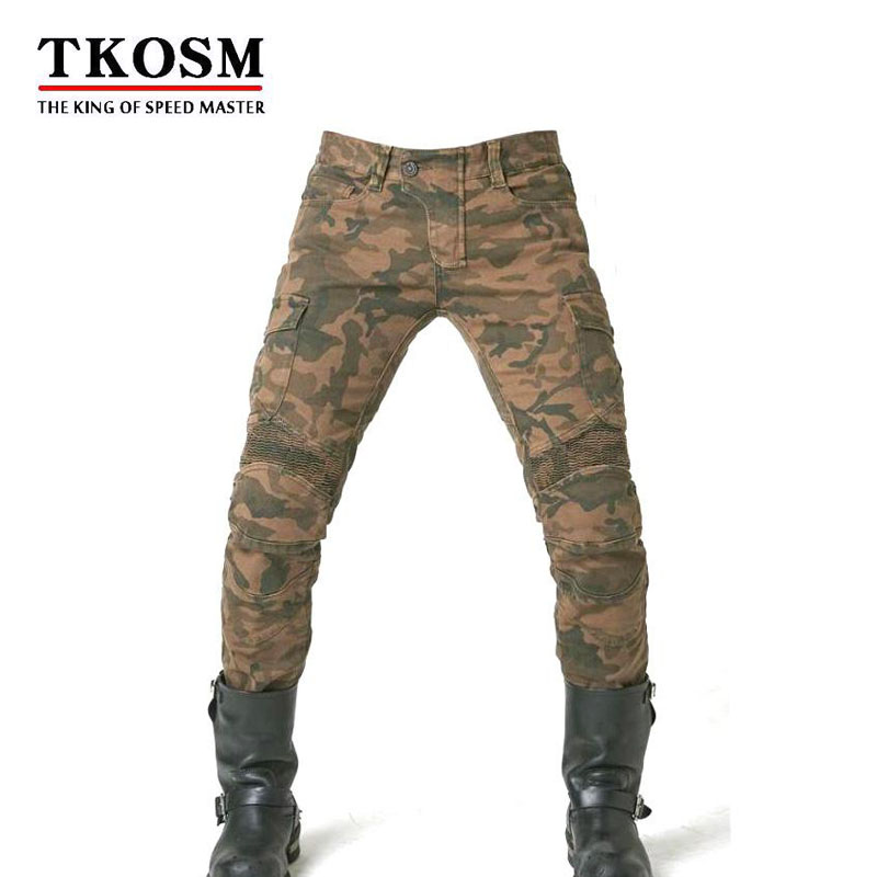 TKOSM 2018 Brand Motorcycle Biker Jeans Men Slim Fit Washed Vintage Ripped Jeans Camouflage Leisure Riding a Motorcycle Pants 2018 newly fashion men s jeans high quality skinny fit ripped jeans men elastic punk pants hip hop white stripe printed jeans