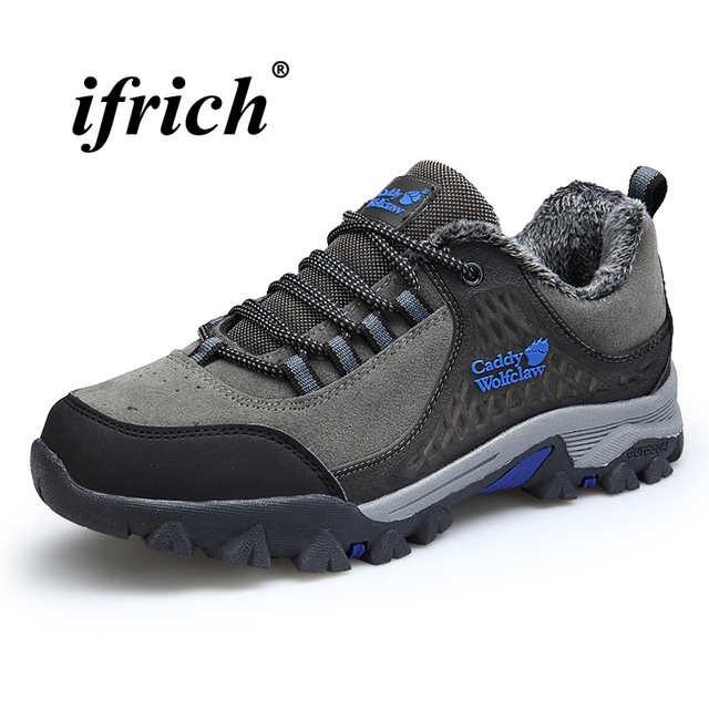 eb7ccd6ca883 Winter Warm Sneakers for Men Plus Size 39-48 Man Hiking Shoes with Fur  Green Gray Camping Shoes Anti-slip Man Mountain Shoes