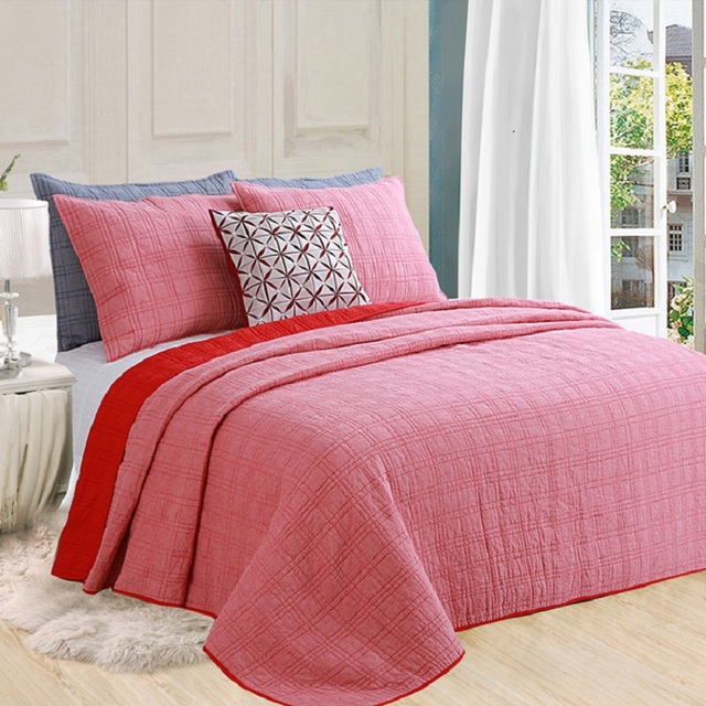 Chausub Washed Cotton Quilt Set 3pcs Quilted Bedspread Solid Color Quilts Bed Cover King Size Coverlet